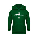 Youth Dark Green Fleece Hood-Dartmouth Softball Stencil