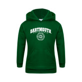 Youth Dark Green Fleece Hood-Dartmouth Volleyball Abstract Ball