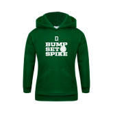 Youth Dark Green Fleece Hood-Volleyball Bump Set Spike