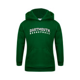 Youth Dark Green Fleece Hood-Basketball