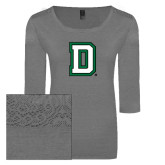 Ladies Grey Heather Tri Blend Lace 3/4 Sleeve Tee-Dartmouth D
