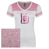Ladies White/Bright Pink Juniors Varsity V Neck Tee-Dartmouth D Foil