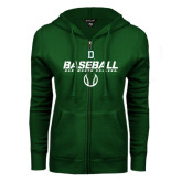 ENZA Ladies Dark Green Fleece Full Zip Hoodie-Dartmouth Baseball Stencil