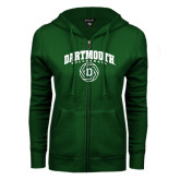 ENZA Ladies Dark Green Fleece Full Zip Hoodie-Dartmouth Volleyball Abstract Ball