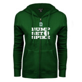 ENZA Ladies Dark Green Fleece Full Zip Hoodie-Volleyball Bump Set Spike