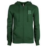 ENZA Ladies Dark Green Fleece Full Zip Hoodie-Primary Mark