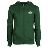 ENZA Ladies Dark Green Fleece Full Zip Hoodie-Dartmouth