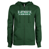 ENZA Ladies Dark Green Fleece Full Zip Hoodie-Dartmouth Big Green