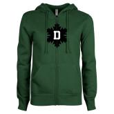 ENZA Ladies Dark Green Fleece Full Zip Hoodie-D Snowflake
