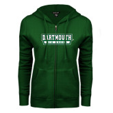 ENZA Ladies Dark Green Fleece Full Zip Hoodie-Dartmouth Big Green