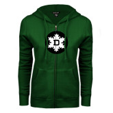ENZA Ladies Dark Green Fleece Full Zip Hoodie-Dartmouth Ski