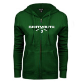 ENZA Ladies Dark Green Fleece Full Zip Hoodie-Dartmouth Football Flat