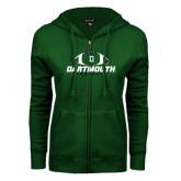 ENZA Ladies Dark Green Fleece Full Zip Hoodie-Dartmouth Football Stacked