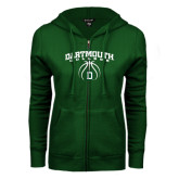 ENZA Ladies Dark Green Fleece Full Zip Hoodie-Dartmouth College Basketball Arched w/ Ball