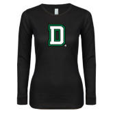 Ladies Black Long Sleeve V Neck T Shirt-Dartmouth D