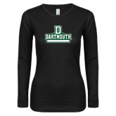 Ladies Black Long Sleeve V Neck T Shirt-D Dartmouth Stacked
