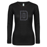 Ladies Black Long Sleeve V Neck T Shirt-Dartmouth D Graphite Glitter