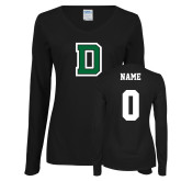 Ladies Black Long Sleeve V Neck T Shirt-Primary Mark, Custom Tee w/ Name and #