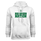 White Fleece Hood-Dartmouth Big Green Stacked Stripes