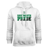 White Fleece Hood-Dartmouth Pride