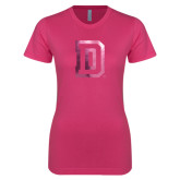 Ladies SoftStyle Junior Fitted Fuchsia Tee-Dartmouth D Foil