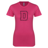 Ladies SoftStyle Junior Fitted Fuchsia Tee-Dartmouth D Hot Pink Glitter