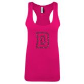 Next Level Ladies Raspberry Ideal Racerback Tank-Dartmouth D Hot Pink Glitter