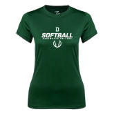 Ladies Syntrel Performance Dark Green Tee-Dartmouth Softball Stencil