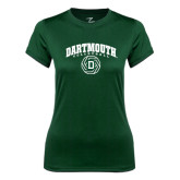 Ladies Syntrel Performance Dark Green Tee-Dartmouth Volleyball Abstract Ball