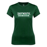 Ladies Syntrel Performance Dark Green Tee-Dartmouth Big Green
