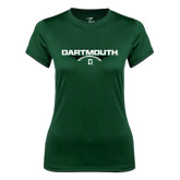 Ladies Syntrel Performance Dark Green Tee-Dartmouth Football Flat