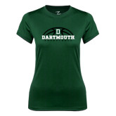 Ladies Syntrel Performance Dark Green Tee-Dartmouth Basketball Half Ball