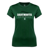 Ladies Syntrel Performance Dark Green Tee-Dartmouth Baseball Stacked