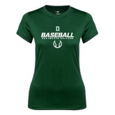 Ladies Syntrel Performance Dark Green Tee-Dartmouth Baseball Stencil
