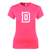 Ladies Performance Hot Pink Tee-Dartmouth D