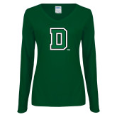 Ladies Dark Green Long Sleeve V Neck T Shirt-Primary Mark