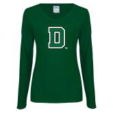 Ladies Dark Green Long Sleeve V Neck T Shirt-Primary Mark