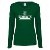Ladies Dark Green Long Sleeve V Neck T Shirt-Dartmouth