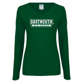 Ladies Dark Green Long Sleeve V Neck T Shirt-Dartmouth Big Green