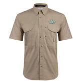 Khaki Short Sleeve Performance Fishing Shirt-D Dartmouth Stacked
