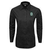 Ladies Black Tonal Pattern Long Sleeve Shirt-Dartmouth D