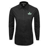 Ladies Black Tonal Pattern Long Sleeve Shirt-D Dartmouth Stacked