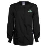 Ladies Black Snap Front Warm Up Scrub Jacket-Dartmouth