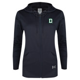 Ladies Under Armour Black Varsity Full Zip Hoodie-Dartmouth D
