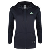 Ladies Under Armour Black Varsity Full Zip Hoodie-D Dartmouth Stacked