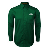 Dark Green Twill Button Down Long Sleeve-D Dartmouth Stacked