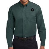 Dark Green Twill Button Down Long Sleeve-D Snowflake