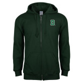 Dark Green Fleece Full Zip Hoodie-Primary Mark