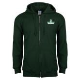 Dark Green Fleece Full Zip Hoodie-Dartmouth