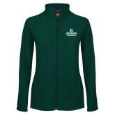 Ladies Fleece Full Zip Dark Green Jacket-Dartmouth